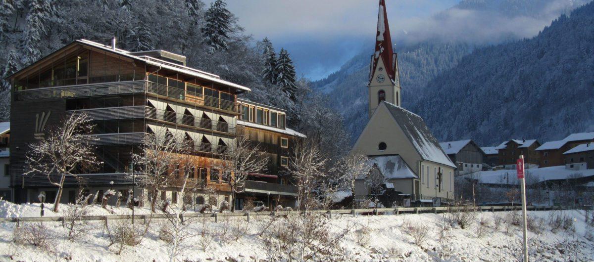 Hotel Krone Au Pfarrkirche Au Winter Vorarlberg