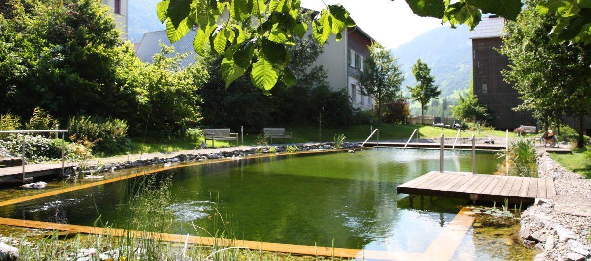 Natural swimming lake hotel krone au bregenzerwald