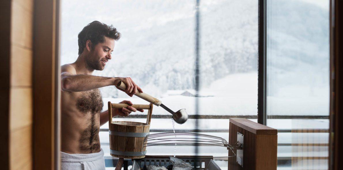 Aufguss ritual panoramic sauna Hotel Krone Au Bregenzerwald