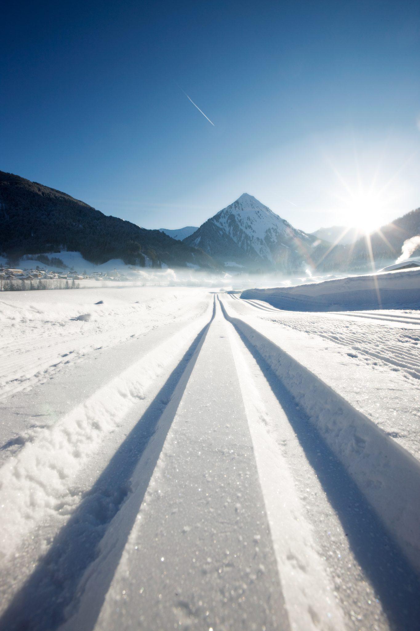 Winterlandschaft Bregenzerwald Langlauf Loipe Hotel Krone Au
